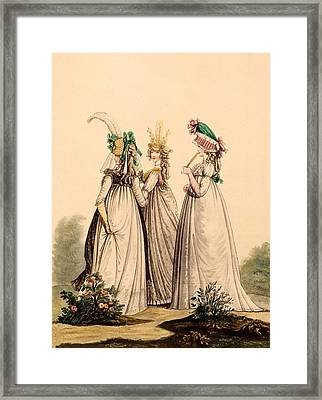Ladies In Day Wear - Modes Anglaises Framed Print by French School