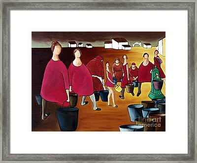 Ladies In Red Framed Print