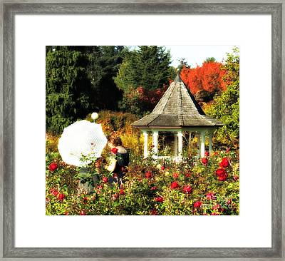 Ladies In Rose Garden Framed Print by Mindy Bench