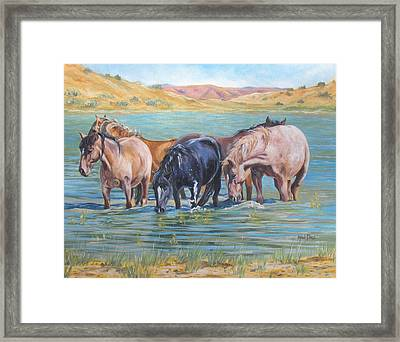 Ladies In Wading Framed Print