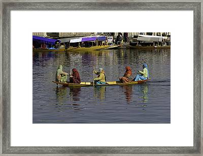 Ladies On A Wooden Boat On The Dal Lake Framed Print