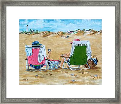 Ladies On The Beach Framed Print by Val Miller