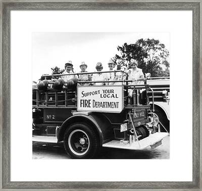 Ladies Supporting Fire Department Framed Print by Retro Images Archive