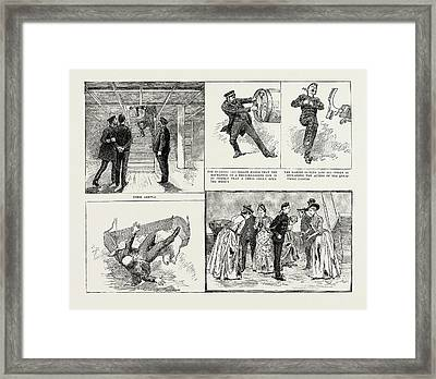 Ladies Visit To An Ironclad, 1889 Their Arrival Framed Print by Litz Collection