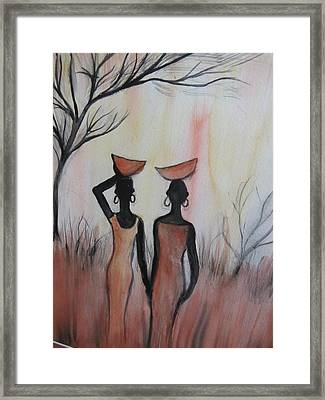 Ladies Walking In The Fields In Kenya Framed Print