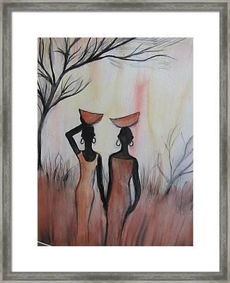 Ladies Walking In The Fields In Kenya Framed Print