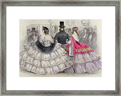 Ladies Wearing Crinolines At The Royal Italian Opera Framed Print by TH Guerin