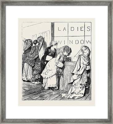 Ladies Window At The New York Post Office Framed Print by American School