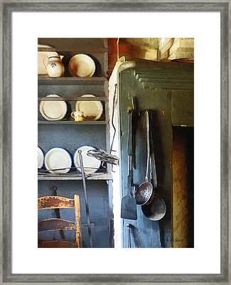Ladles And Spatula In Kitchen Framed Print by Susan Savad