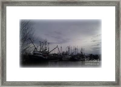 Ladner Harbour In Winter Framed Print by Victoria Heryet