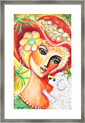 Framed Print featuring the painting Lady And Bijon by Anya Heller