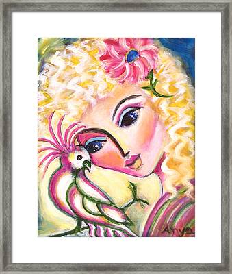 Framed Print featuring the painting Lady And Cockatiel by Anya Heller