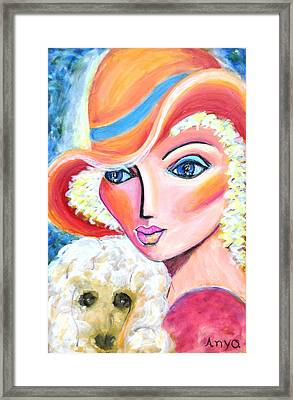 Lady And Poodle Framed Print
