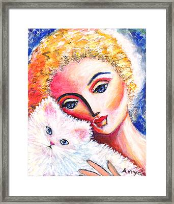 Framed Print featuring the painting Lady And White Persian Cat by Anya Heller