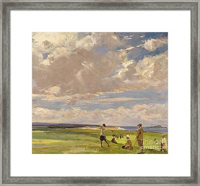 Lady Astor Playing Golf At North Berwick Framed Print by Sir John Lavery