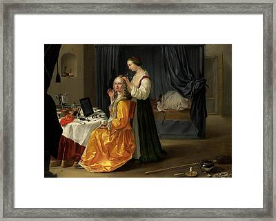 Lady At Her Toilet Framed Print by Netherlandish School