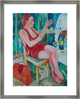 Lady At Lunch Framed Print by Giovanni Caputo