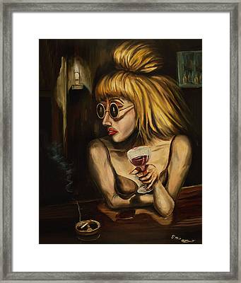 Lady At The Bar Framed Print