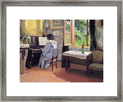 Lady At The Piano Framed Print by Felix Edouard Vallotton