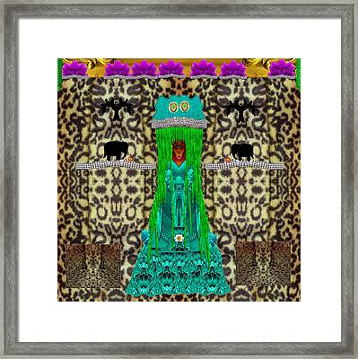 Lady Bear In The Jungle Framed Print by Pepita Selles