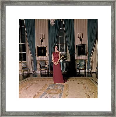 Lady Bird Johnson In The White House Framed Print