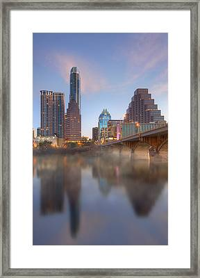 Lady Bird Lake Fog And The Austin Skyline 1 Framed Print by Rob Greebon