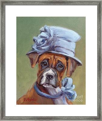 Lady Boxer With Blue Hat Framed Print by Viktoria K Majestic