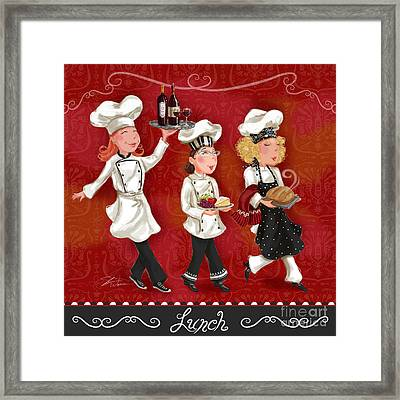 Lady Chefs - Lunch Framed Print by Shari Warren