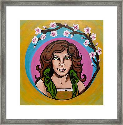 Framed Print featuring the painting Lady Cherry Blossom by Sarah Crumpler
