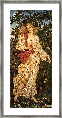 Lady Flora Goddess Of Blossoms And Flowers Framed Print by Evelyn de Morgan