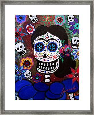 Lady Frida In Blue Framed Print