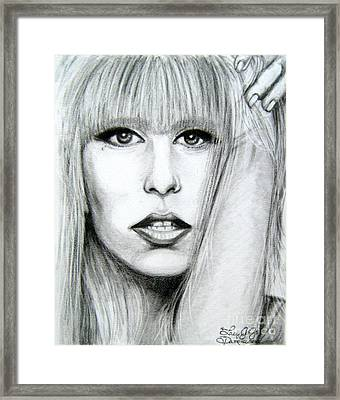 Framed Print featuring the drawing Lady Gaga by Patrice Torrillo