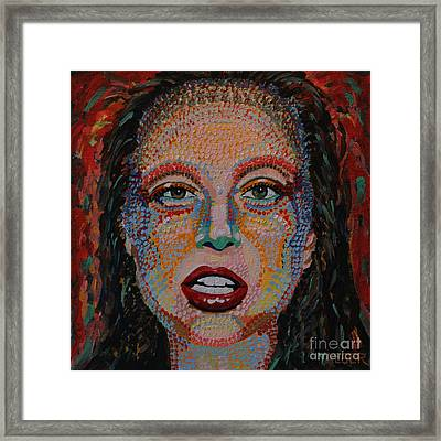 Lady Gaga Portrait Framed Print by Robert Yaeger