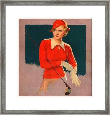 Lady Golfer Framed Print