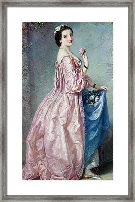 Lady Holding Flowers In Her Petticoat Framed Print