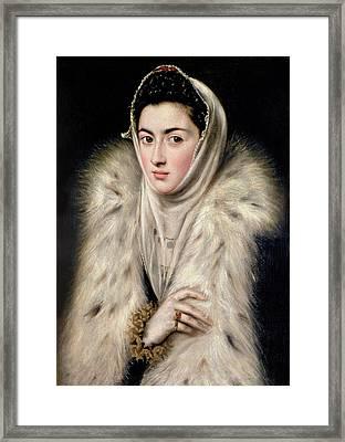 Lady In A Fur Wrap Framed Print by Domenico El Greco