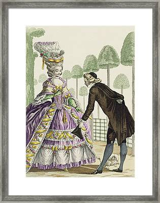 Lady In A Lilac Dress Promenades Framed Print by Pierre Thomas Le Clerc