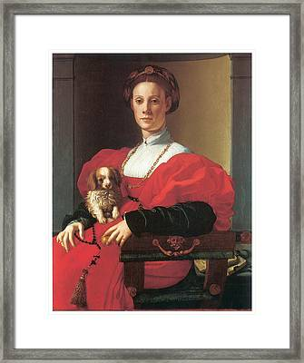 Lady In A Red Dress Framed Print by Jacopo Pontormo