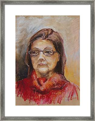 Lady In A Red Pullover Framed Print by Barbara Pommerenke