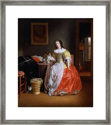 Lady In A Yellow And Red Dress Framed Print