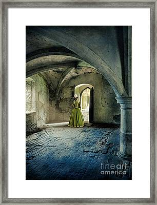 Lady In Abbey Room Framed Print by Jill Battaglia