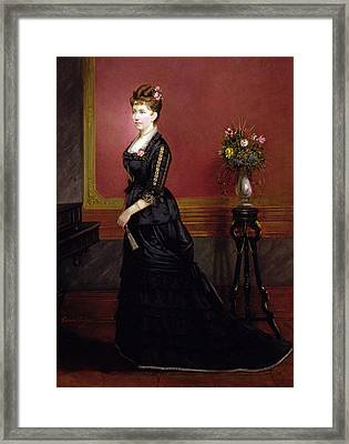 Lady In Black Framed Print by Edouard Ender