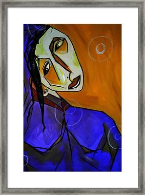 Lady In Blue Framed Print