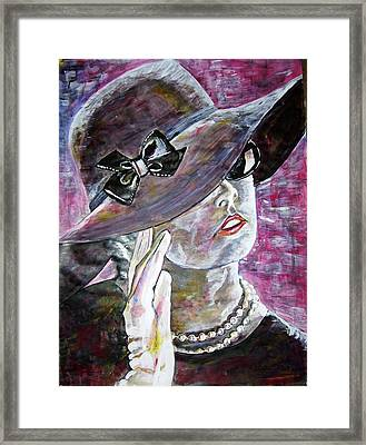 Lady In Gloves Framed Print by Linda Vaughon