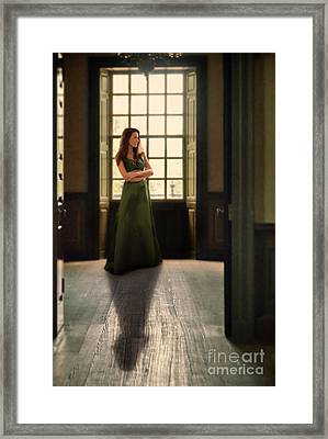 Lady In Green Gown By Window Framed Print
