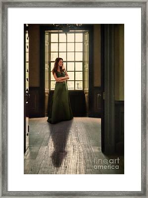 Lady In Green Gown By Window Framed Print by Jill Battaglia