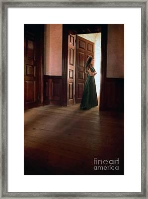 Lady In Green Gown In Doorway Framed Print by Jill Battaglia
