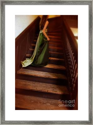 Lady In Green Gown On Stairs Framed Print by Jill Battaglia