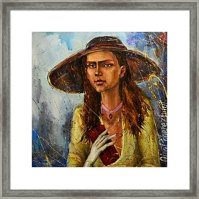 Lady In Hat Framed Print by Oleg  Poberezhnyi