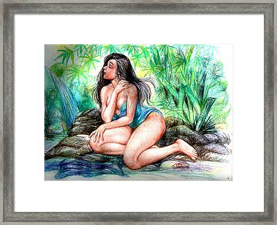 Lady In Lake 2 Framed Print by Manuel Cadag